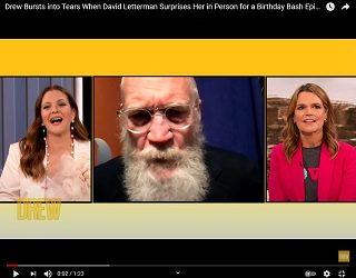 David Letterman Surprises Drew Barrymore For Birthday